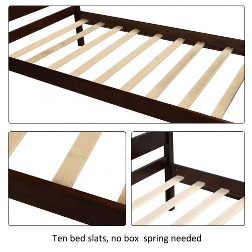 Wood Platform Bed with Headboard and Wooden Slat Support 6