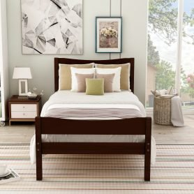 Wood Platform Bed with Headboard and Wooden Slat Support 12