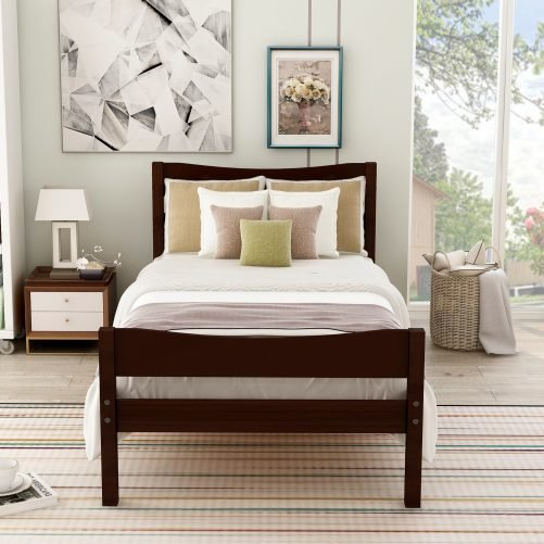 Wood Platform Bed with Headboard and Wooden Slat Support 1