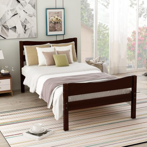 Wood Platform Bed with Headboard and Wooden Slat Support 4
