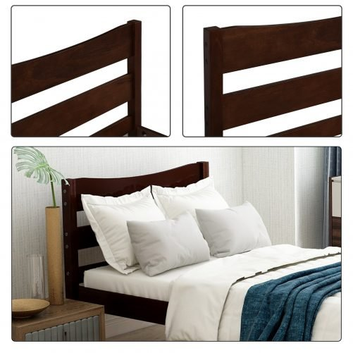 Wood Platform Bed with Headboard and Wooden Slat Support 16