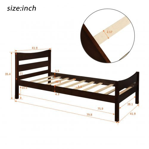 Wood Platform Bed with Headboard and Wooden Slat Support 2