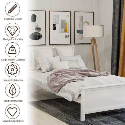 Wood Platform Bed with Headboard,Footboard and Wood Slat Support 2