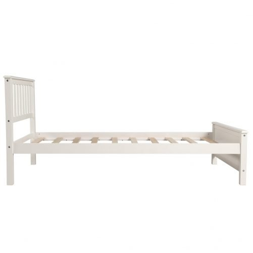 Wood Platform Bed with Headboard,Footboard and Wood Slat Support 18