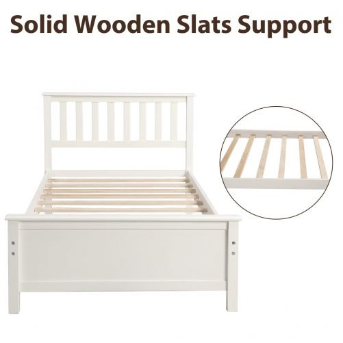 Wood Platform Bed with Headboard,Footboard and Wood Slat Support 4