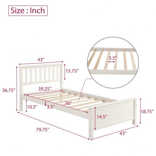 Wood Platform Bed with Headboard,Footboard and Wood Slat Support 14