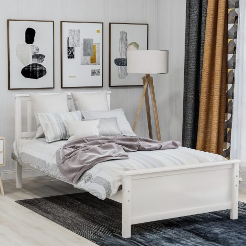 Wood Platform Bed with Headboard,Footboard and Wood Slat Support 16