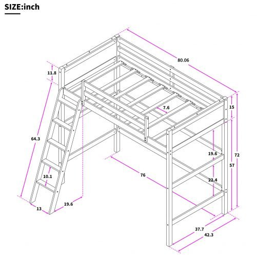 Solid Wood Loft Bed Panel Style Loft Bed,Side Angled Ladder 10