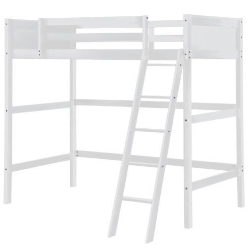 Solid Wood Loft Bed Panel Style Loft Bed,Side Angled Ladder 6