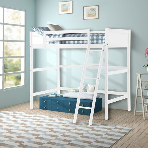 Solid Wood Loft Bed Panel Style Loft Bed,Side Angled Ladder 2