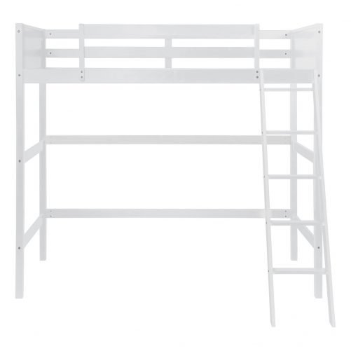 Solid Wood Loft Bed Panel Style Loft Bed,Side Angled Ladder 12