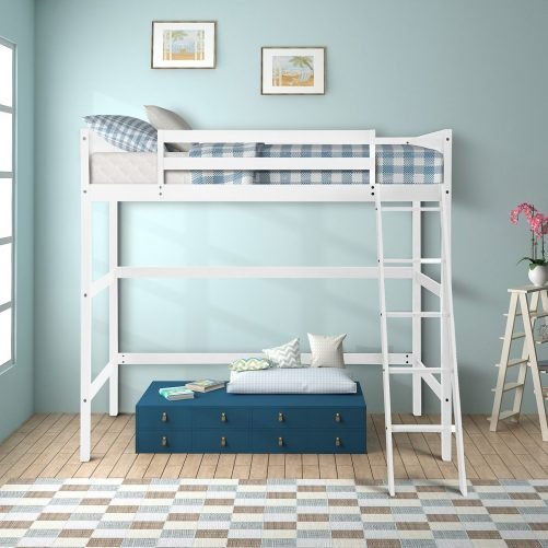 Solid Wood Loft Bed Panel Style Loft Bed,Side Angled Ladder 16