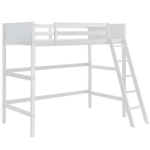 Solid Wood Loft Bed Panel Style Loft Bed,Side Angled Ladder 8