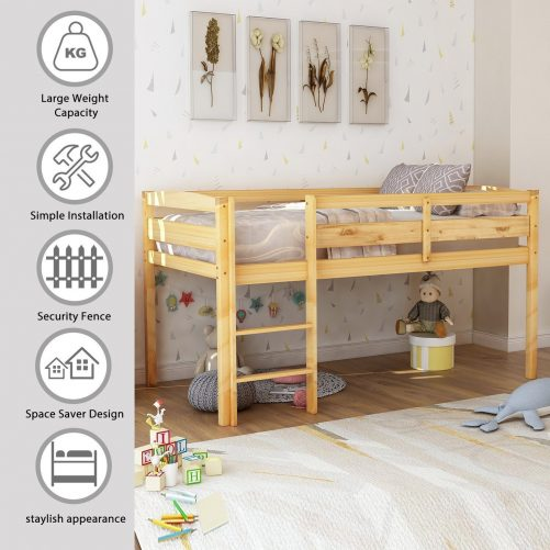 Twin Wood Loft Bed Low Loft Beds for Kids with Ladder 2