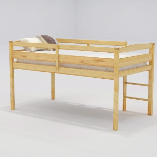 Twin Wood Loft Bed Low Loft Beds for Kids with Ladder 4