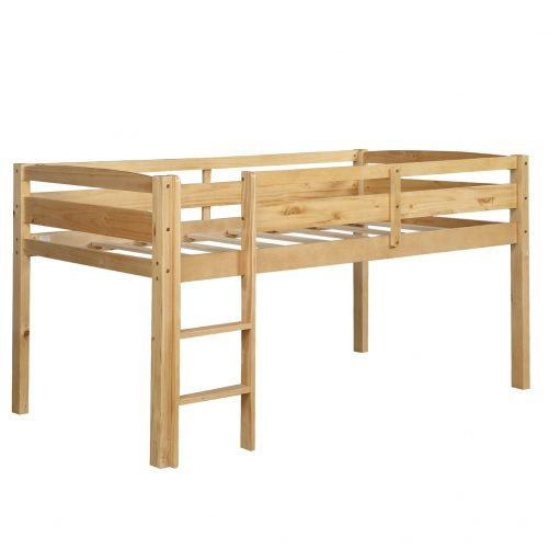 Twin Wood Loft Bed Low Loft Beds for Kids with Ladder 16