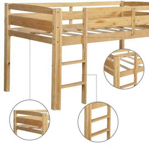 Twin Wood Loft Bed Low Loft Beds for Kids with Ladder 6