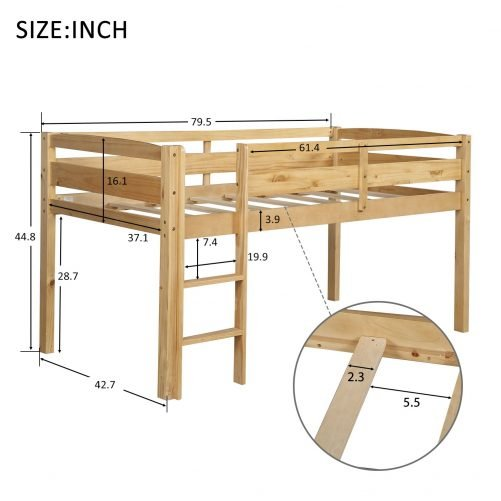 Twin Wood Loft Bed Low Loft Beds for Kids with Ladder 5
