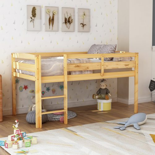 Twin Wood Loft Bed Low Loft Beds for Kids with Ladder 7