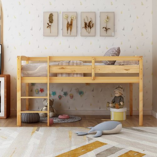 Twin Wood Loft Bed Low Loft Beds for Kids with Ladder 9