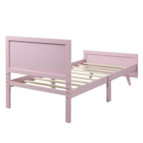 Wood Platform Bed Twin Bed Frame Mattress Foundation with Headboard and Wood Slat Support 6