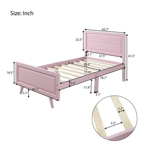 Wood Platform Bed Twin Bed Frame Mattress Foundation with Headboard and Wood Slat Support 5