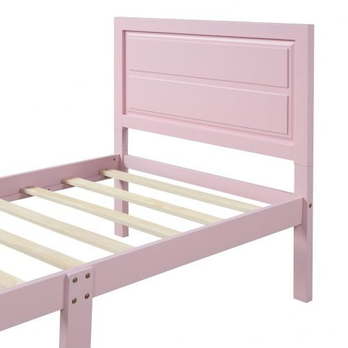 Wood Platform Bed Twin Bed Frame Mattress Foundation with Headboard and Wood Slat Support 11