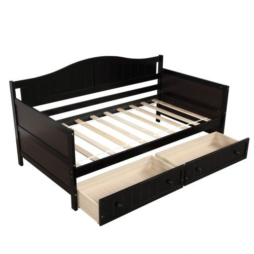 Twin Wooden Daybed with 2 drawers, Sofa Bed for Bedroom Living Room 30