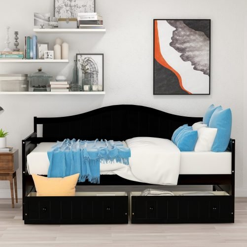 Twin Wooden Daybed with 2 drawers, Sofa Bed for Bedroom Living Room 2