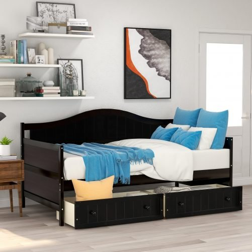 Twin Wooden Daybed with 2 drawers, Sofa Bed for Bedroom Living Room 14