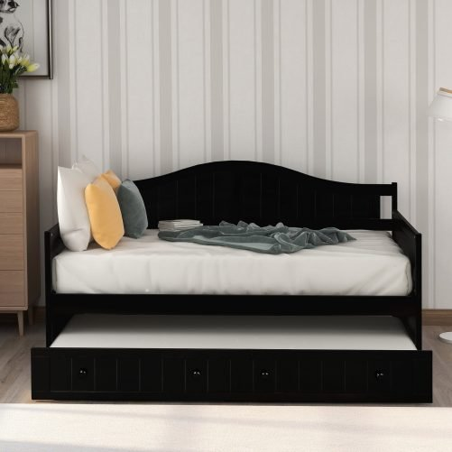 Twin Wooden Daybed with Trundle Bed 6