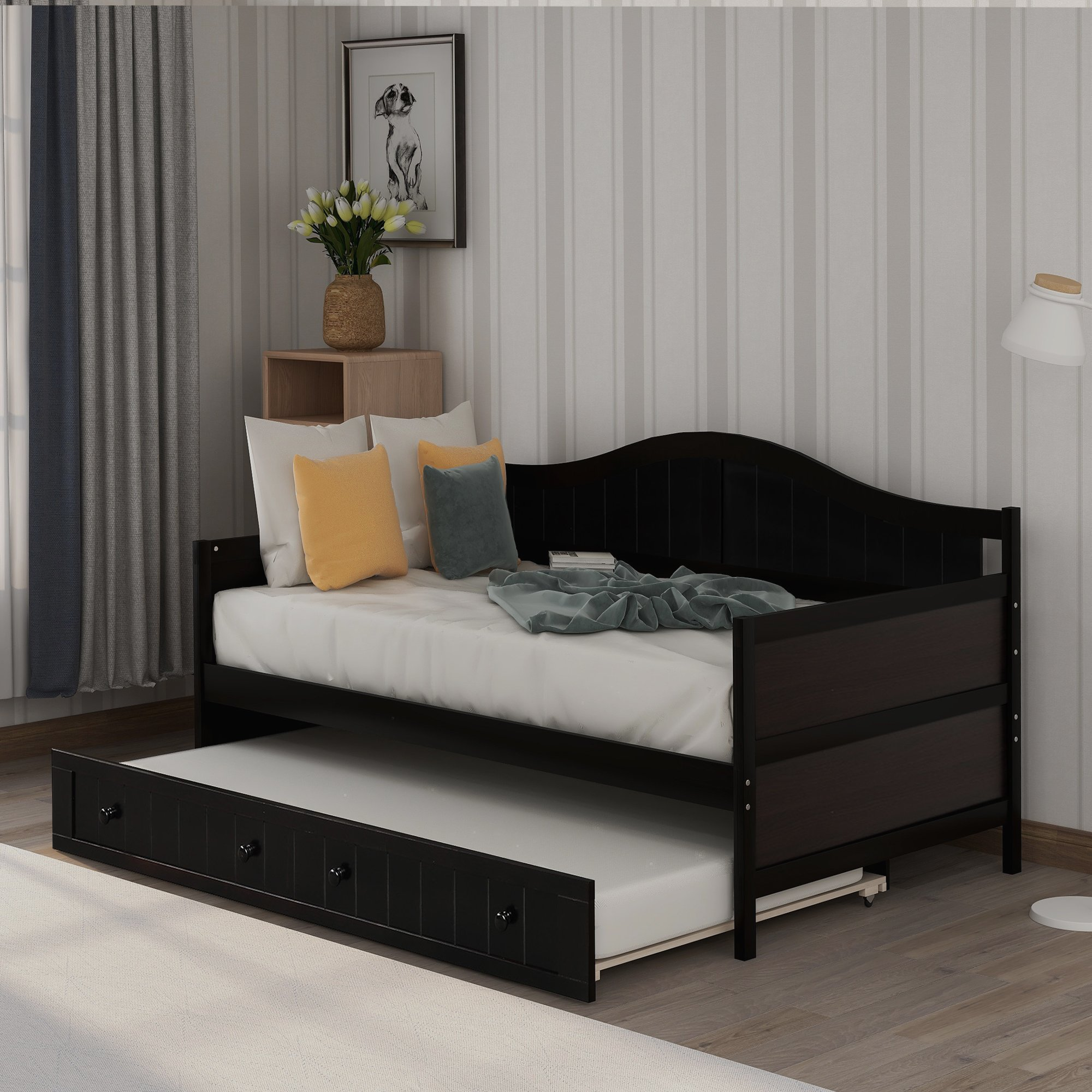Twin Wooden Daybed with Trundle Bed, Sofa Bed for Bedroom ...