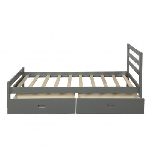 Wood Platform Bed With Two Drawers, Full Size 20