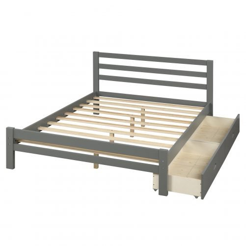 Wood Platform Bed With Two Drawers, Full Size 10