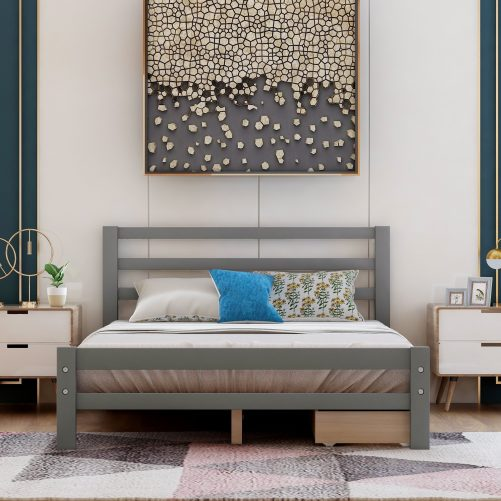 Wood Platform Bed With Two Drawers, Full Size 18