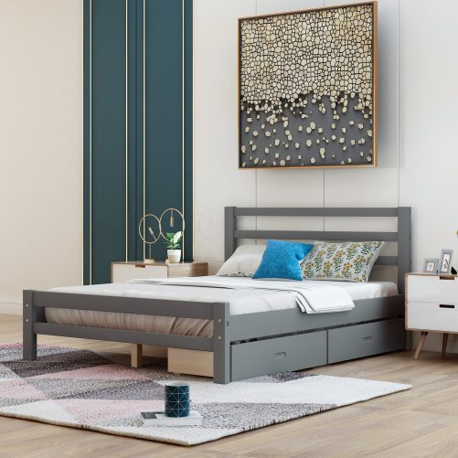 Wood Platform Bed With Two Drawers, Full Size 8