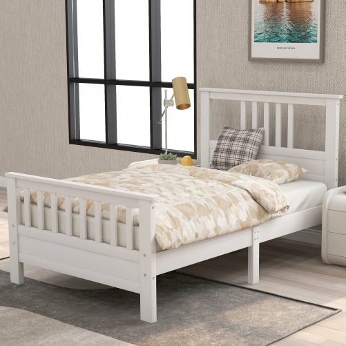 Wooden platform bed with headboard and footboard 5